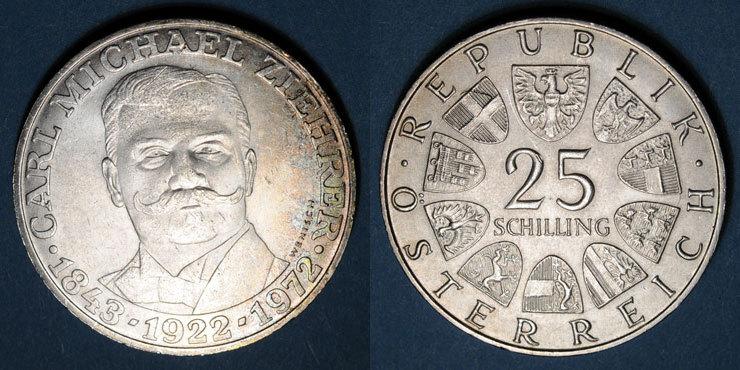 1972 EUROPA Autriche. République. 25 schilling 1972.