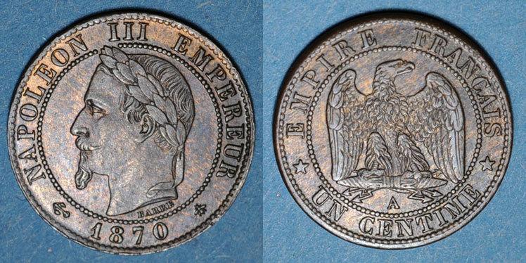 1870 A FRANZÖSISCHE MODERNE MÜNZEN 2e empire (1852-1870). 1 centime, tête laurée, 1870A ss+