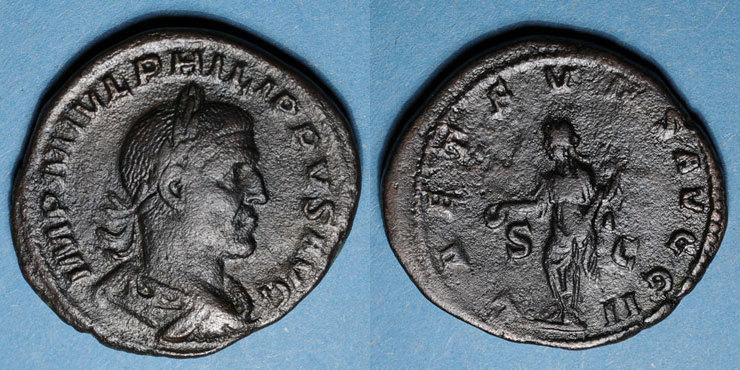 247 RÖMISCHE KAISERZEIT Philippe I (244-249). Sesterce. Rome, 247. R/: la Joie. Inédit ! Inédit ! s-ss