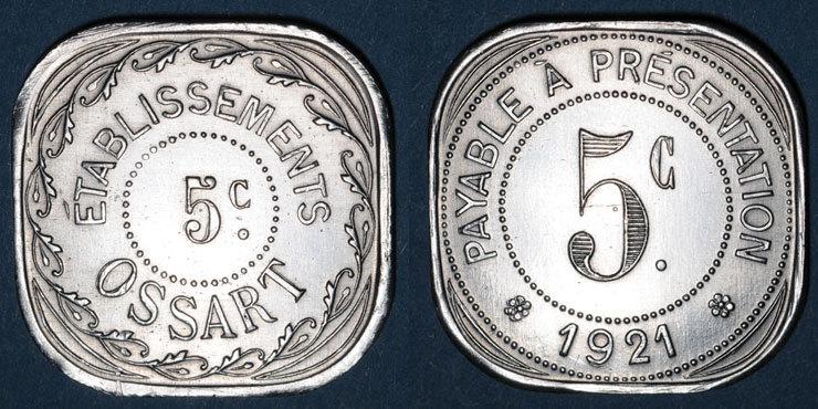 1921 FRANZÖSISCHE NOTMÜNZEN Montpellier (34). Etablissements Ossart. 5 centimes 1921 ss-vz