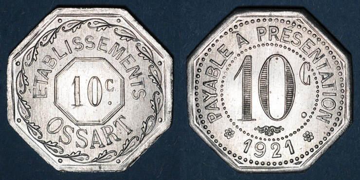 1921 FRANZÖSISCHE NOTMÜNZEN Montpellier (34). Etablissements Ossart. 10 centimes 1921 vz