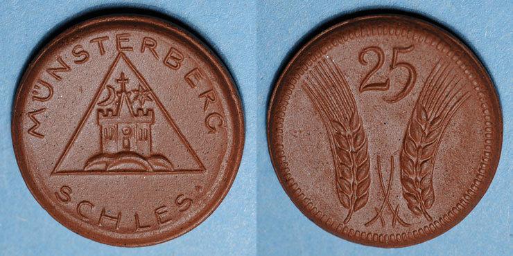 EUROPA Pologne. Ziebice. Münsterberg Schles. 25 pfennig. Porcelaine vz+