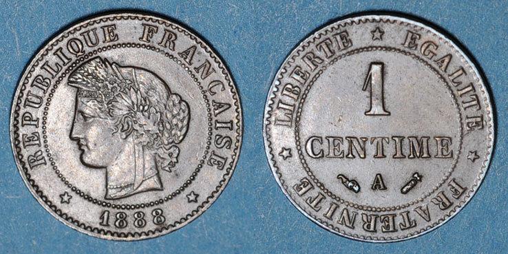 1888 A FRANZÖSISCHE MODERNE MÜNZEN 3e république (1870-1940). 1 centime Cérès, 1888A ss+