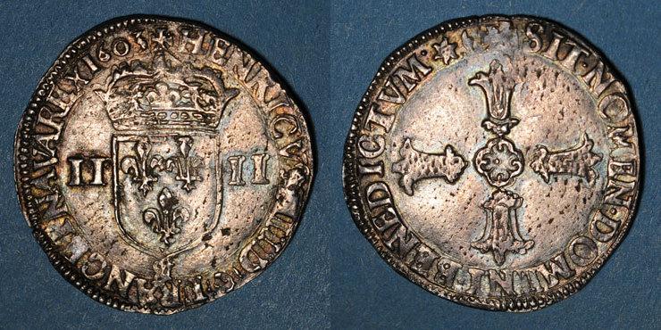 1603 FRANZÖSISCHE KÖNIGLICHE MÜNZEN Henri IV (1589-1610). 1/4 d'écu, 2e type, 1603&. Aix Léger tréflage et flan légèrement paillé sinon vz
