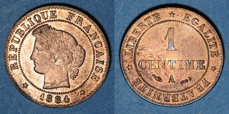 1884 A Französische Moderne Münzen 3e République 1870 1940 1