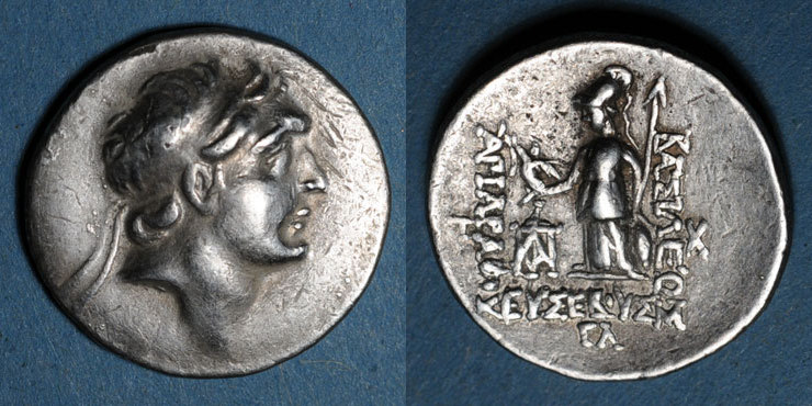 220-163 v. Chr. GRIECHISCHE MÜNZEN Royaume de Cappadoce. Ariarathes IV Eusèbe (220-163 av. J-C). Drachme, an 33 ss