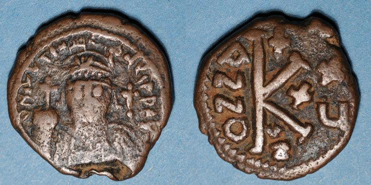551-552 n. Chr. BYZANZ Empire byzantin. Justinien I (527-565). 1/2 follis. Cyzique, 551-552 Année peu commune, s / ss