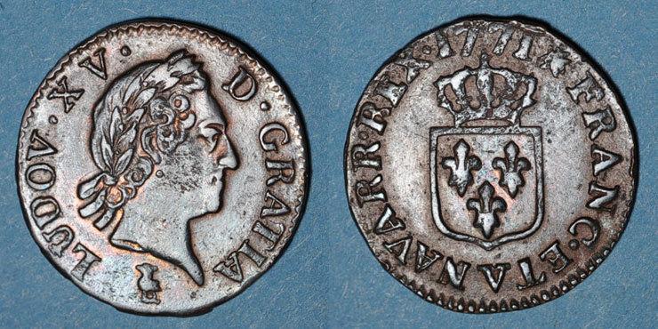 1771 V FRANZÖSISCHE KÖNIGLICHE MÜNZEN Louis XV (1715-1774). Liard à la vieille tête 1771V. Troyes ss+