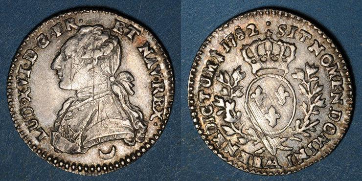 1782AA FRANZÖSISCHE KÖNIGLICHE MÜNZEN Louis XVI (1774-1793). 12 sols aux lauriers 1782AA. Metz Fines rayures d'ajustage sinon ss-vz