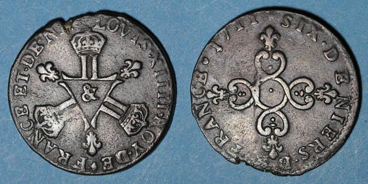 1711 FRANZÖSISCHE KÖNIGLICHE MÜNZEN Louis XIV (1643-1715). 6 deniers dits