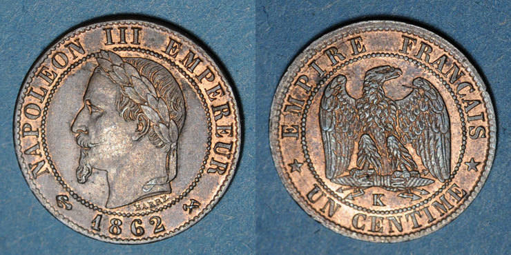 1862 K FRANZÖSISCHE MODERNE MÜNZEN 2e empire (1852-1870). 1 centime, tête laurée, 1862K. Bordeaux ss+
