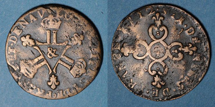 1712 FRANZÖSISCHE KÖNIGLICHE MÜNZEN Louis XIV (1643-1715). 6 deniers dits
