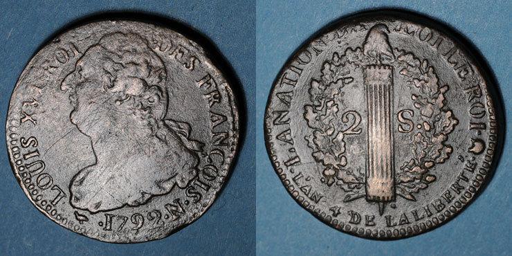 1792 N FRANZÖSISCHE MODERNE MÜNZEN Constitution (1791-1792). 2 sols 1792N. Montpellier s / s-ss