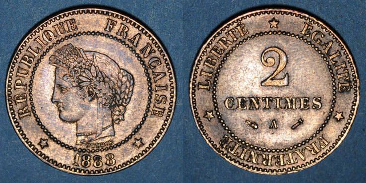 1888 A FRANZÖSISCHE MODERNE MÜNZEN 3e république (1870-1940). 2 centimes Cérès, 1888A ss-vz