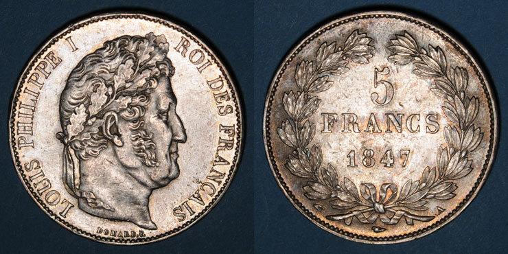 1847 A FRANZÖSISCHE MODERNE MÜNZEN Louis Philippe (1830-1848). 5 francs 1847A Petit coup / listel à 9h sinon vz