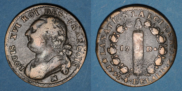 1792MA FRANZÖSISCHE MODERNE MÜNZEN Constitution (1791-1792). 12 deniers 1792MA. Marseille. Métal de cloche s