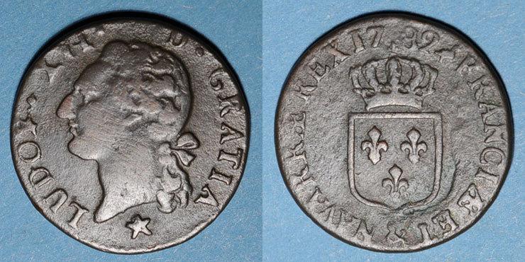 1782 FRANZÖSISCHE KÖNIGLICHE MÜNZEN Louis XVI (1774-1793). 1/2 sol 1782&. Aix. Différent sous le buste : étoile s+
