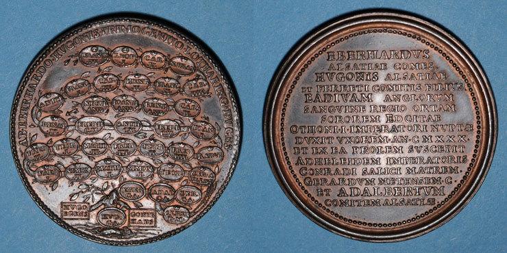 LOTHRINGEN Lorraine. Eberhard, comte d'Alsace. Médaille en bronze L'écusson vide a été arasé sinon vz