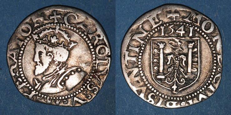 1541 ANDERE FEUDALE MÜNZEN Franche Comté. Cité de Besançon. Carolus 1541 s-ss