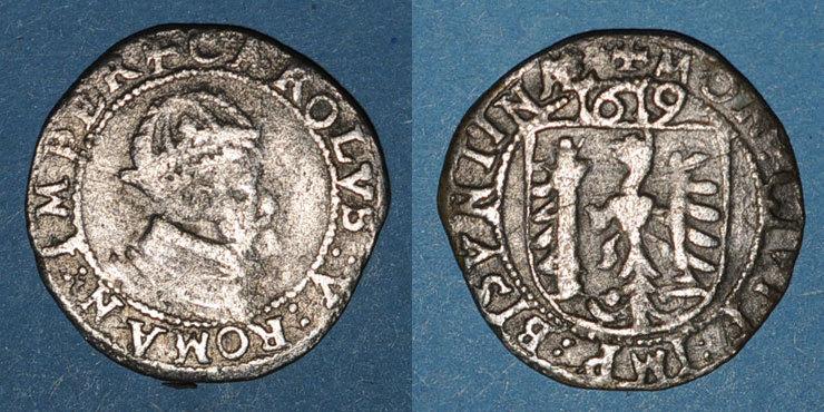 1619 ANDERE FEUDALE MÜNZEN Franche Comté. Cité de Besançon. Carolus 1619. Type avec CAROLVS : V s+ / ss