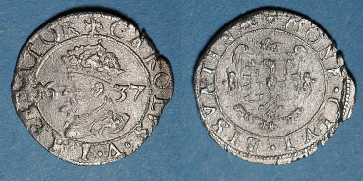 1637 ANDERE FEUDALE MÜNZEN Franche Comté. Cité de Besançon. Carolus 1637 s-ss / s