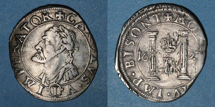 1623 ANDERE FEUDALE MÜNZEN Franche Comté. Cité de Besançon. Gros (= 1/8 teston) 1623 Flan légèrement paillé / revers, s-ss