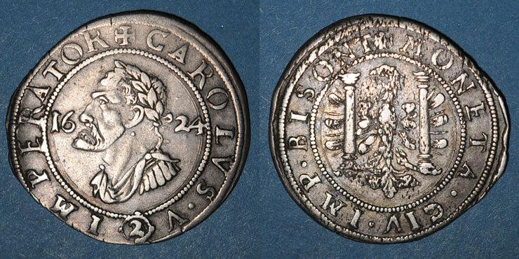 1624 ANDERE FEUDALE MÜNZEN Franche Comté. Cité de Besançon. 2 gros (= 1/4 teston) 1624 Flan légèrement paillé / revers, ss