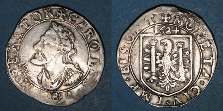 1624 ANDERE FEUDALE MÜNZEN Franche Comté. Cité de Besançon. Teston 1624 Faiblesse de frappe, s-ss