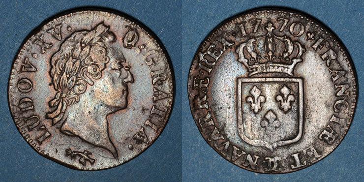 1770 FRANZÖSISCHE KÖNIGLICHE MÜNZEN Louis XV (1715-1774). Sol à la vieille tête 1770. Besançon Variante inédite ! Très légère faiblesse de frappe / revers sinon TTB / ss+