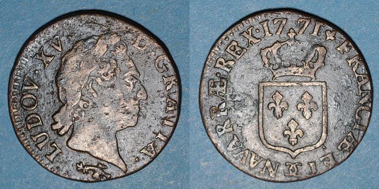 1771 FRANZÖSISCHE KÖNIGLICHE MÜNZEN Louis XV (1715-1774). 1/2 sol à la vieille tête 1771. Besançon s