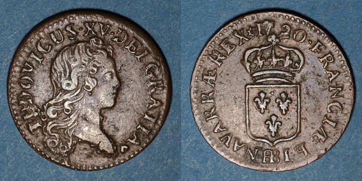 1720 BB FRANZÖSISCHE KÖNIGLICHE MÜNZEN Louis XV (1715-1774). Liard au buste enfantin 1720BB. Strasbourg ss / ss
