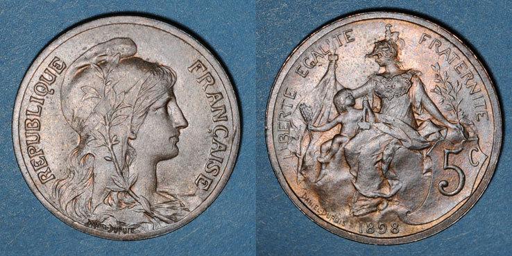 1898 FRANZÖSISCHE MODERNE MÜNZEN 3e république (1870-1940). 5 centimes Dupuis, 1898 ss-vz
