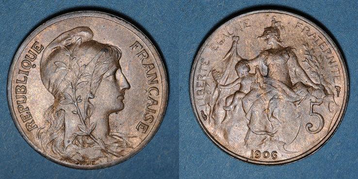 1906 FRANZÖSISCHE MODERNE MÜNZEN 3e république (1870-1940). 5 cmes Dupuis, 1906 ss+