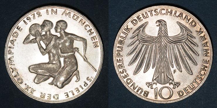 1972 F KAISERREICH MÜNZEN Allemagne. 10 mark 1972F. Jeux olympiques. Sportif et sportive Flan poli, ss-vz