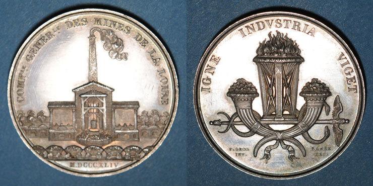 1844 MARKEN - JETONS (RECHENPFENNIGE) Mines. Saint-Etienne. Mines de la Loire. Jeton en argent 1844 Superbe