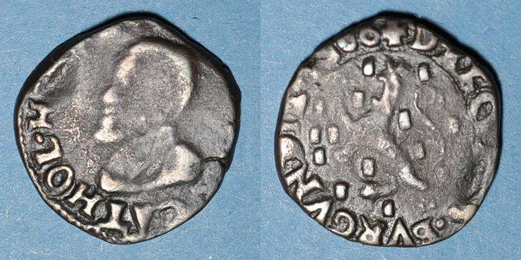 1600 ANDERE FEUDALE MÜNZEN Comté de Bourgogne. Albert et Isabelle (1598-1621). Double denier 1600. Dôle. Au nom de Philippe II Année peu commune ! Flan court, s