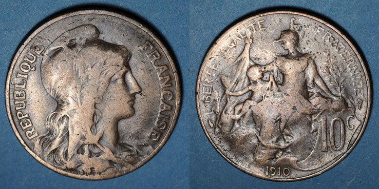 1910 FRANZÖSISCHE MODERNE MÜNZEN 3e république (1870-1940). 10 centimes Dupuis, 1910 s+