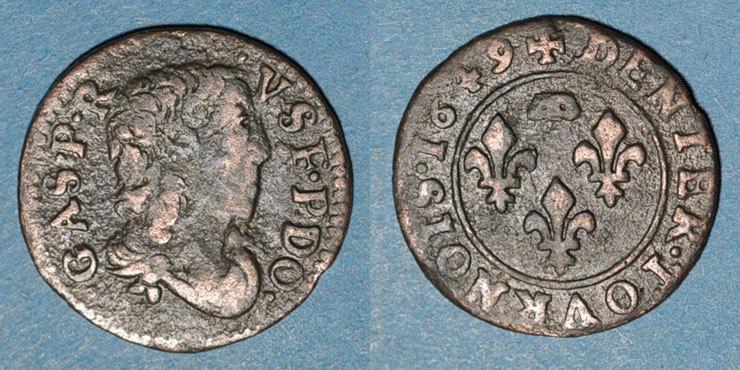 1649 ANDERE FEUDALE MÜNZEN Principauté de Dombes. Gaston d'Orléans (1627-50). Denier tournois 1649. Variante inédite ! Variante inédite ! s