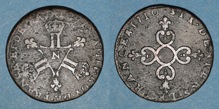1710 N FRANZÖSISCHE KÖNIGLICHE MÜNZEN Louis XIV (1643-1715). 6 deniers dits