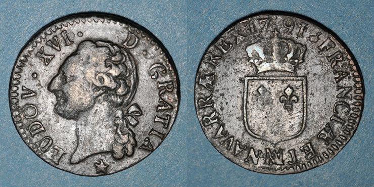 1791MA FRANZÖSISCHE KÖNIGLICHE MÜNZEN Louis XVI (1774-1793). 1/2 sol 1791MA. Marseille Faiblesse de frappe / centre revers, ss / TB