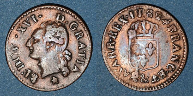 1782 FRANZÖSISCHE KÖNIGLICHE MÜNZEN Louis XVI (1774-1793). Liard 1782&. Aix Cassure de coin / revers, s-ss / TB