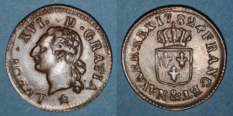 1782 FRANZÖSISCHE KÖNIGLICHE MÜNZEN Louis XVI (1774-1793). Liard 1782&. Aix Petite faiblesse de frappe sinon vz