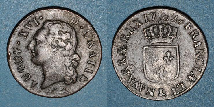 1782 FRANZÖSISCHE KÖNIGLICHE MÜNZEN Louis XVI (1774-1793). 1/2 sol 1782&. Aix. Différent sous le buste : arc Petit choc / listel, s+ / TB