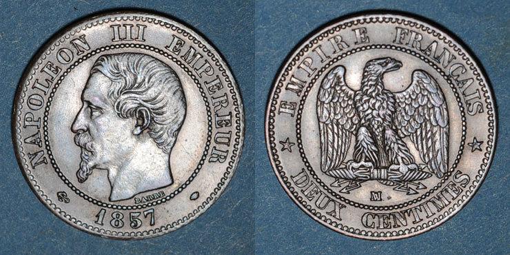 1857MA FRANZÖSISCHE MODERNE MÜNZEN 2e empire (1852-1870). 2 centimes, tête nue, 1857MA. Marseille vz