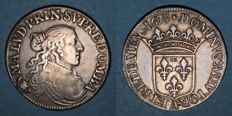 1673 ANDERE FEUDALE MÜNZEN Principauté de Dombes. Anne-Marie-Louise d'Orléans (1650-1693). 1/2 écu d'argent 1673 R ! s-ss / ss