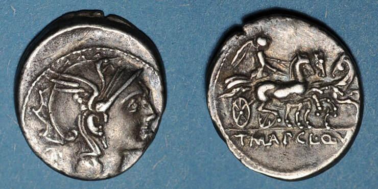 vers 111-110 v. Chr. RÖMISCHE REPUBLIK Rép. romaine. T. Manlius Mancinus, Appius Claudius Pulcher & Q. Urbinius (vers 111-110 av J-C). Deni ss