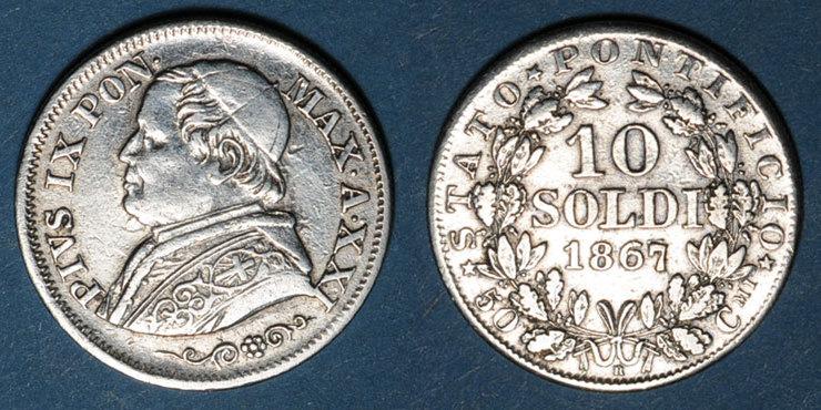 1867 EUROPA Vatican. Pie IX (1846-1878). 10 soldi 1867/7R, an XXI. Rome Variante inédite ! Légèrement lustrée sinon s-ss