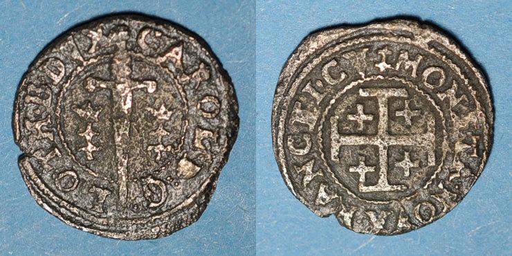 1625-1634 LOTHRINGEN Duché de Lorraine. Charles IV, 1er règne (1625-1634). Double denier. Nancy Peu courant, légère corrosion, s / ss