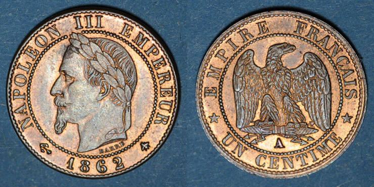 1862 A FRANZÖSISCHE MODERNE MÜNZEN 2e empire (1852-1870). 1 centime, tête laurée, 1862A Presque vz