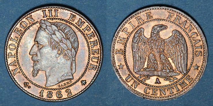 1862 A FRANZÖSISCHE MODERNE MÜNZEN 2e empire (1852-1870). 1 centime, tête laurée, 1862A vz